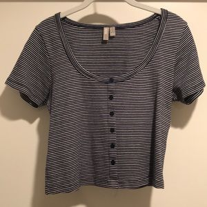 ASOS Navy and White Striped Scoop Neck Tee